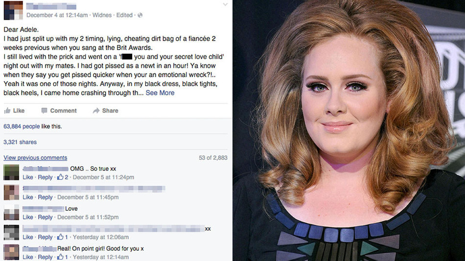 Adele S Facebook Page Home To Colorful Fan Break Up Story