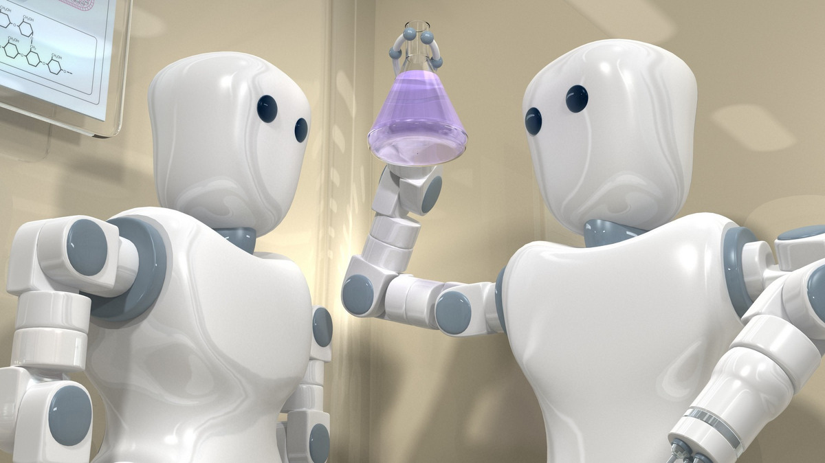 Robots working in laboratory
