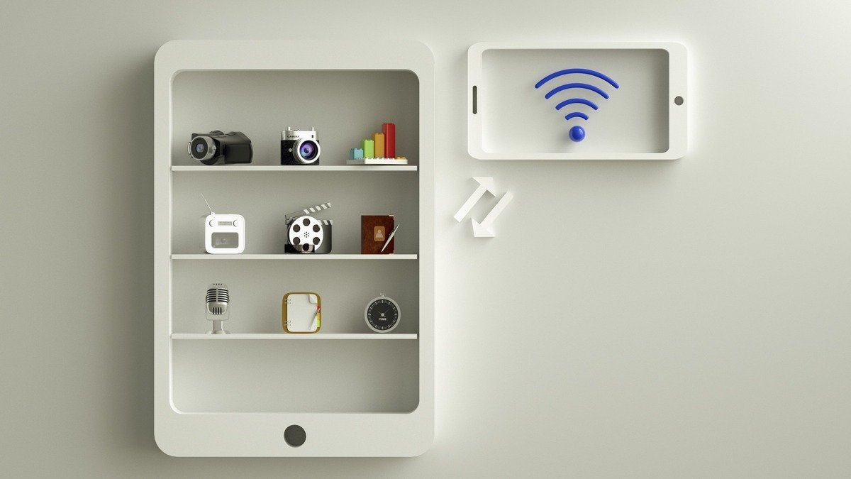 A smart phone with objects inside.