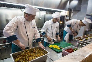 Russian Chef's Prepare foods inside Boeing 747 Restaurant in China