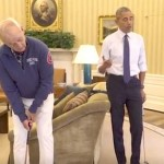 Barack Obama plays golf with Bill Murray in the Oval Office