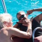 Barack Obama learned to practice the Kitesurfing on the billionaire Richard Branson's island