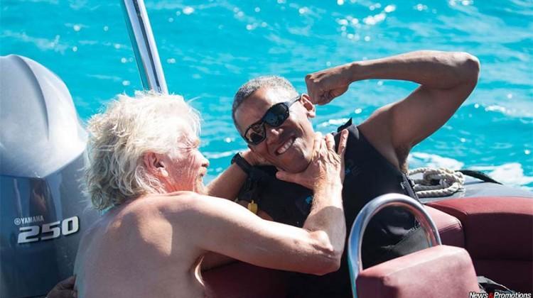 Barack Obama learned to practice the Kitesurfing on the billionaire Richard Branson's island