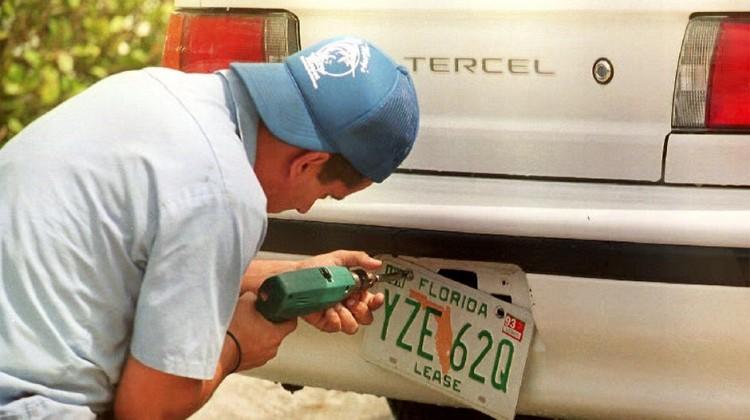 Florida man tries to update registration sticker with marker