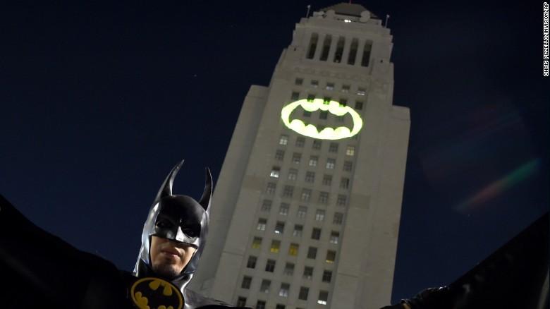 Adam West Bat Signal - Los Angeles City Hall 2017